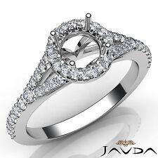 Diamond Engagement Platinum Halo Pave Setting Round Shape Semi Mount Ring 0.50Ct