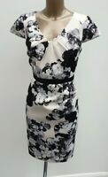 Coast Ivory Black Floral Satin Party Occasion Pencil Wiggle Summer Dress Size 14