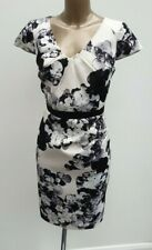 Coast Ivory Black Floral Satin Party Occasion Pencil Wiggle Dress UK 14