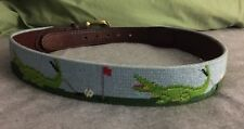 Unisex Needlepoint Belt Custom handmade heirloom petitpoint Golf Alligators XS S