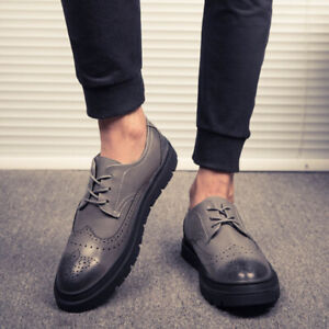 Mens Faux Leather Business Formal Casual Shoes Work British Wingtips Brogues