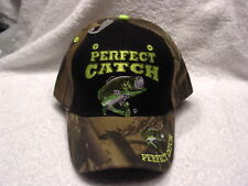 BASS FISHING PERFECT CATCH FISH FISHERMAN BASEBALL CAP HAT CAMOUFLAGE & BLACK
