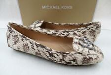 Michael Kors Lillie Moccasin Flat Shoes Embossed Leather Natural Size 9.5