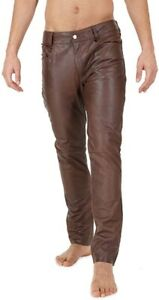 Pant Leather Jeans Style Pants Mens Real Trouser Motorcycle Waist Brown 4