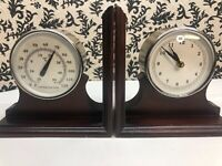 Vintage WOOD Nautical MARITIME BOOKENDS with Clock & Thermometer Pier 1 imports