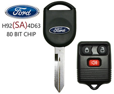 NEW FORD H92 SA 80 BIT OEM TRANSPONDER CHIP KEY + 3 BUTTON REMOTE BEST QUALITY