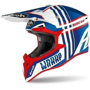Airoh Wraap Off Road Enduro Mx Helmet Broken Blue Red M L X Large Acu Approved
