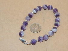 "Sterling Silver and 8mm Chevron Amethyst Bracelet 8"" (12168)"