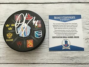 David Krejci Signed Autographed 2016 World Cup of Hockey Puck Beckett BAS COA a