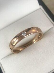 9ct Rose Gold 4mm Single Diamond Wedding Band Ring Size Q Item ~ B0075