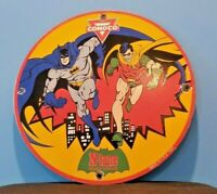 VINTAGE CONOCO BATMAN ROBIN GAS PORCELAIN GASOLINE AND OIL COMIC NTANE RACK SIGN