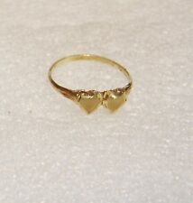 10K YELLOW GOLD DOUBLE DUAL TWO HEART DIAMOND CUT SIZE 5.75 RING N82-T