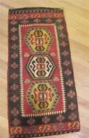 """Kilim Hand Loomed Wool Turkish Area Rug Saddle Bag Eastern Turkey 19"""" x 36"""" VTG"""