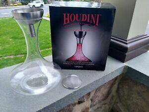 Houdini Wine Shower Funnel Aerator & 50 oz Crystal Decanter & Sediment Strainer