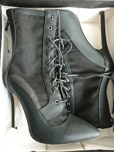 Black Mesh Insert Lace Up Boots