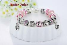 "Beautiful ""Heart Accent"" European Murano Glass Beads Charm Bracelet (Pink)"