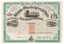 1874 Atlantic, Mississippi & Ohio RR Co. VA Gold Bond Signed William Mahone