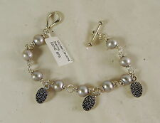 "MICHEAL DAWKINS STERLING SILVER PEARL TOGGLE BRACELET 7"" LONG"