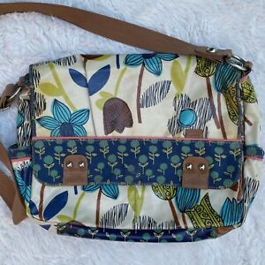FOSSIL Key Per Messenger Bag Coated Canvas Large Crossbody Floral Turquoise Blue