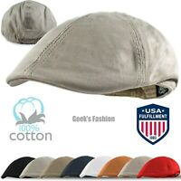 Men's Cotton Solid Gatsby Ivy Hat Newsboy Summer Duckbill Flat Cabbie Golf Cap