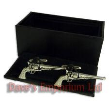 antiguo pistola Gemelos en Caja - INGLESES, finos Peltre - 6 PISTOLA Gemelos