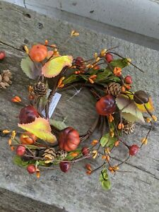 PUMPKIN CANDLE RING Wreath Leaves Fall Autumn Berry Pod Country Farmhouse Sm