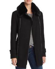 $448 Aqua Women'S Black Faux-Fur-Collar Asymmetric Zip Moto Coat Jacket Size Xs