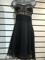 Unusual Te Amo Jersey Gold Black Bandeau Party Club Dress Size 12