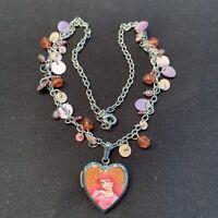 Ariel Little Mermaid Locket Necklace Marked Disney Princess Silver Tone Vintage