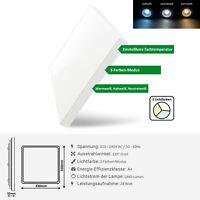 24W LED Deckenleuchte Slim Eckig Deckenlampe 3 Farbtemperaturen Einstellbar