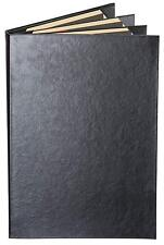 "Menu Covers Black Casebound Quad Panel - 6-View - 8.5"" x 14"""
