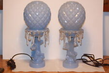 Vintage PAIR Blue Frosted Painted Art Deco Flower Glass Globe Lamps Lustre