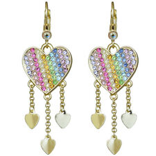 Kirks Folly  RAINBOW LOVE HEART LEVERBACK EARRINGS goldtone