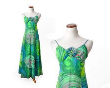 TRUE VINTAGE 1970s 70s green formal maxi tropical Hawaiian psychedelic long xs s