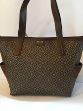 FOSSIL Dark Multi Brown Mimi PVC & Leather Tote Shopper Bag Purse $128 NWT