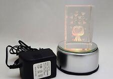 LED Leuchtsockel 4LED für 3D Laser Kristallquader Glasblock Quader Netz/Batterie