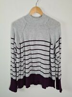 JEANSWEST Turtle Neck Nikki Stripe Pullover Grey Burgundy Knit Women's Size XL