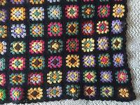 """Lovely  Granny Square Afghan Black & Brites 3"""" Squares Vintage  35"""" x 62"""""""