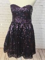 Shimmer by Bari Jay Size 8 Purple Strapless Short Bling Prom Evening Party Dress