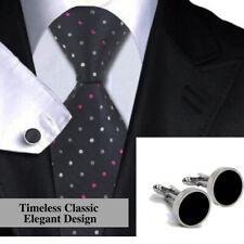 Timeless Classic Elegant Design Silver Plated Round Black Agate Button Cufflinks