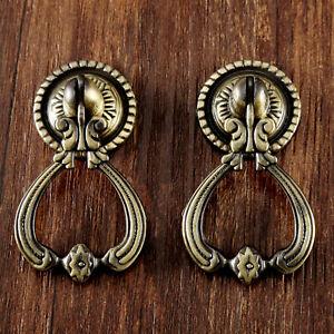 1 Pair Antique Brass European Handles Vintage Cabinet Drawer Door Pull Knobs