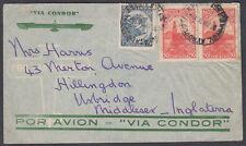1936 Argentina Airmail via Condor:Uxbridge,England; Enc.;B.Aires British Embassy