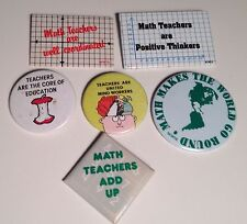 Math Teacher Pins Vintage Pinbacks Lot of 6 Teacher Gifts for School Teachers