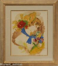 MARCEL VERTES ORIGINAL WATERCOLOR GOUACHE IMPRESSIONIST WOMAN WITH FLOWERS