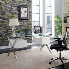 Modway Abeyance Contemporary Modern Glass Top Office Desk In White