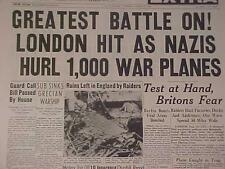 VINTAGE NEWSPAPER HEADLINE~WORLD WAR 2 GERMAN NAZI PLANES BOMB LONDON START WWII