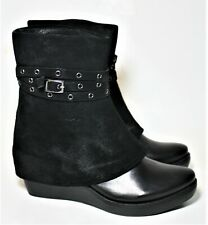 ANTELOPE SHOES OVERLAY WEDGE BOOT BLACK SUEDE LEATHER PULL ON BOOTIES 37 NEW
