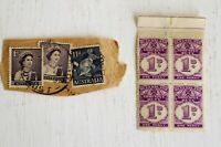 Vintage Queensland 1d Stamps x 4 (Unused) & Australia 1d & 11d Stamps x 3 (Used)