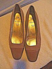 BRUNO MAGLI TAN Velvet Chunky Heels Classic Shoes Pumps Women's 10 B