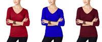 NWT INC International Concepts Petite Knit Tee T-Shirt LS V-Neck Top B2G1 Free!